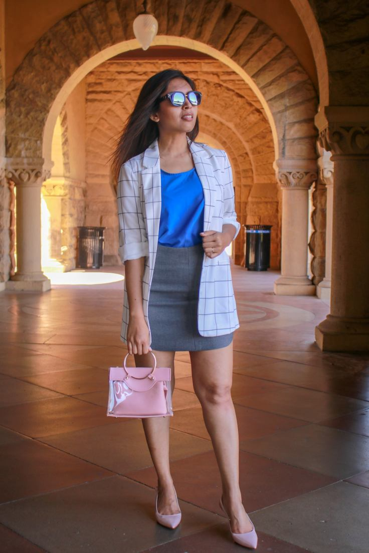 Spring-work-outfit-white-blazer-cobalt-blue-top-nude-pumps